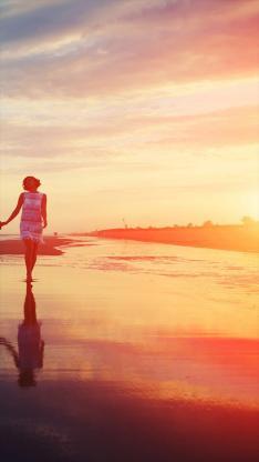 爱情 女生 海滩 大海
