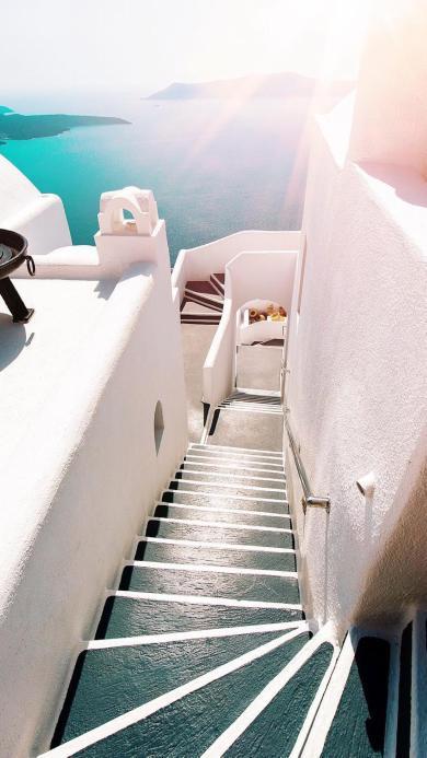 希腊 阶梯 白色 海 阳光