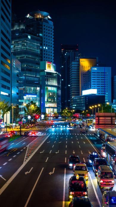 夜景 城市 街道 路口