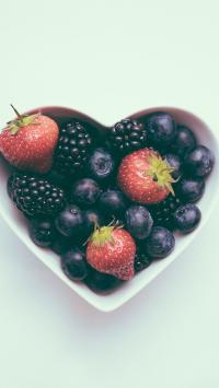 水果 草莓 树莓 爱心摆设