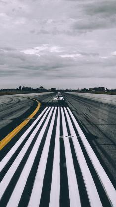跑道 机场 路线 黑白 黄线