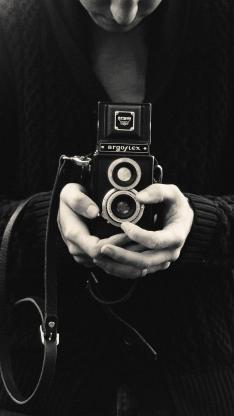 双反 相机 黑白 摄影 双手 旅行