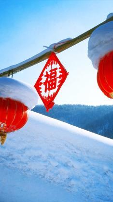 过年 下雪 节庆 冬天 灯笼