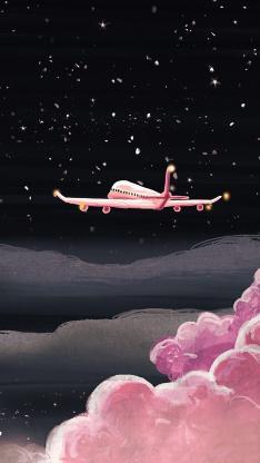 飞机 手绘 云层 粉色 黑色 云端 星空 黑夜