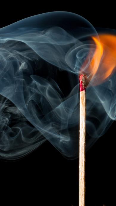 火柴 烟雾 柴火 黑 火光
