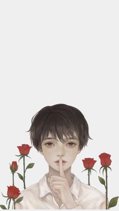 情侣壁纸 玫瑰 男孩