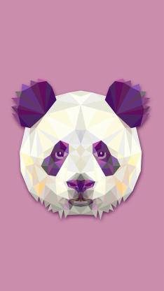 熊猫 设计 几何 动物 粉色