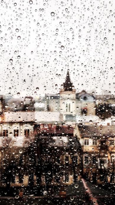 雨 水滴 水珠 城市 窗 模糊