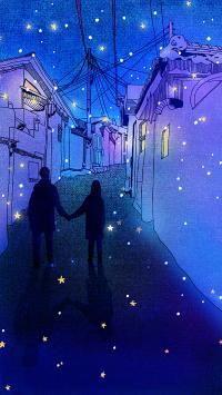 夜色 星空 蓝色 背影