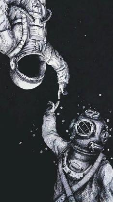 手绘 宇宙 宇航员 创意