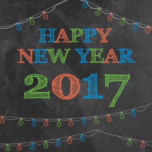 新年快乐 2017 粉笔 黑板