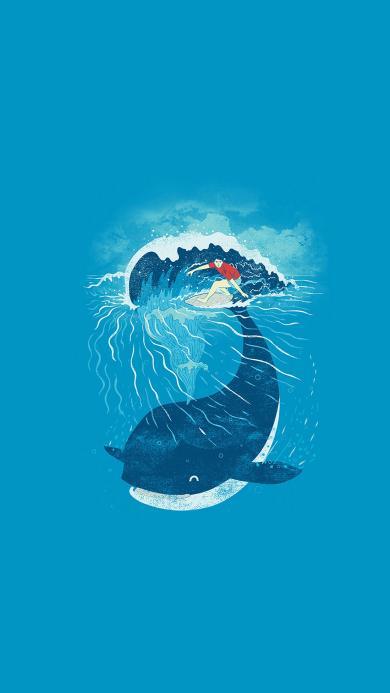 鲸鱼 滑板 插画 大海 海浪 蓝色