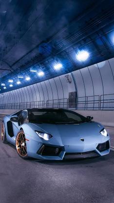 白色 名车 跑车 隧道