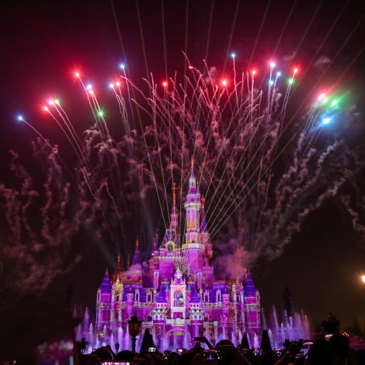 迪士尼 烟花 色彩 烟火 黑夜 节日 庆祝 火焰