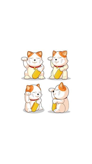 招财猫 铃铛 手绘 插画