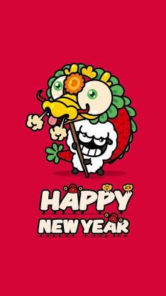 过年 拜年 新年 舞狮 红色
