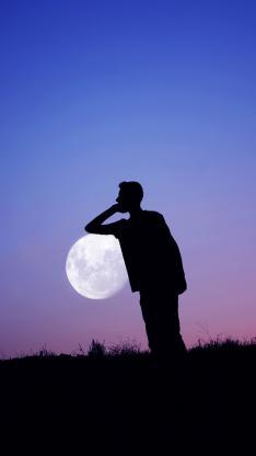创意 黑白 背影 夜空 男生