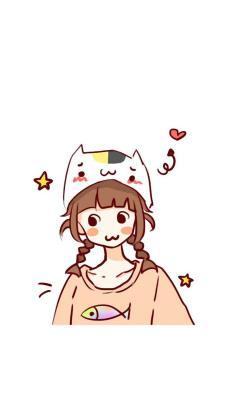 情侣 卡通 猫 爱心 女孩