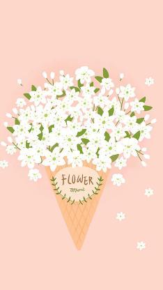 鲜花 花束 手绘 浪漫 粉色