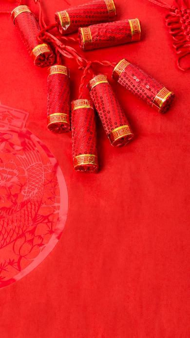 鞭炮 红色 春节 喜庆 新年 节日