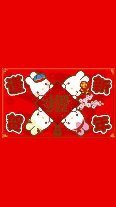 谨贺新年 兔子 福 春节 红色