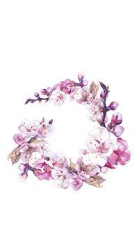 花环 紫色 水彩 手绘 鲜花 植物
