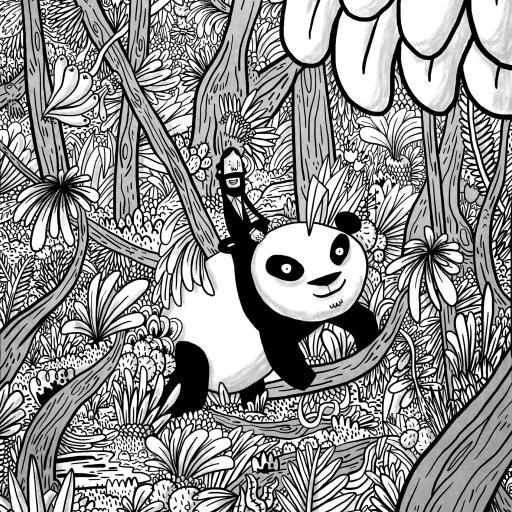 漫画 手绘 创意 熊猫 黑白