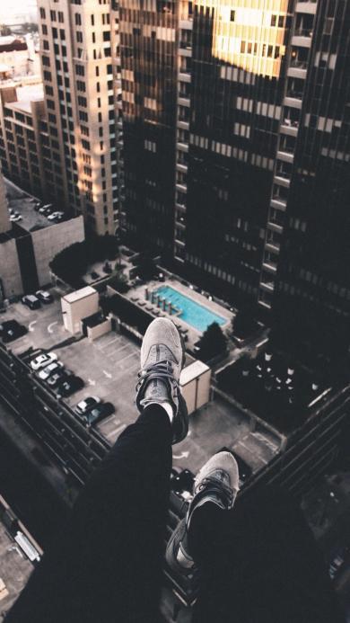 楼房 建筑 双腿 俯视 黑白灰
