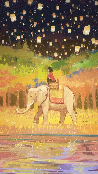 大象 曼谷 手绘 插画 孔明灯