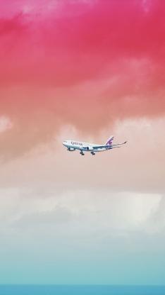 色彩 渐变天空 唯美 飞机