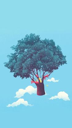 树木 云彩 飞翔 蓝色 天空
