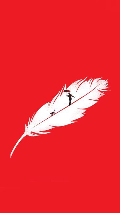 红色 打伞 行走 创意