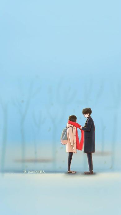 鬼怪 韩剧 手绘 蓝色 红围巾 情侣