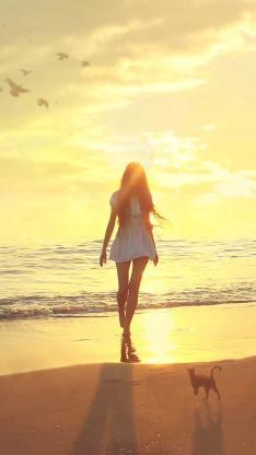 爱情 女生 背影 沙滩 天空