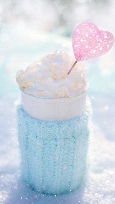 冰激凌 食物 寒冷 爱心 毛衣 冬季 雪地 甜点