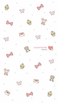 韩系 小可爱 卡通 平铺壁纸 蝴蝶结