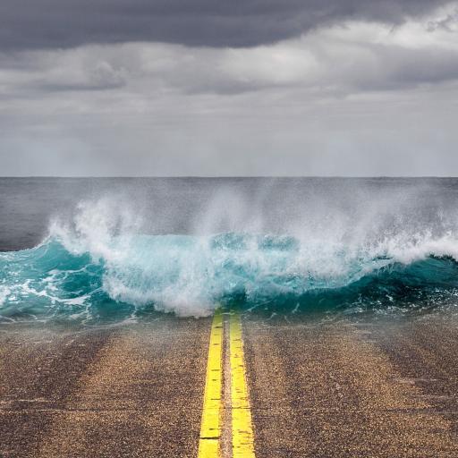 创意 路边 海水淹没