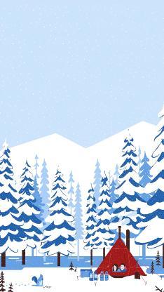 露营 雪地 树木 帐篷 情侣 爱情