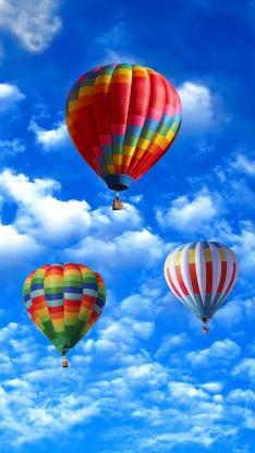 天空 热气球 蓝天 白云