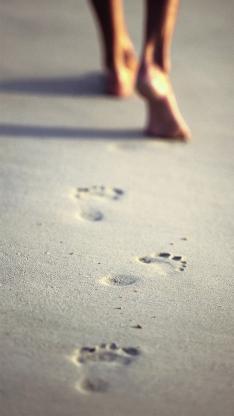 沙滩 脚印 风景 脚丫