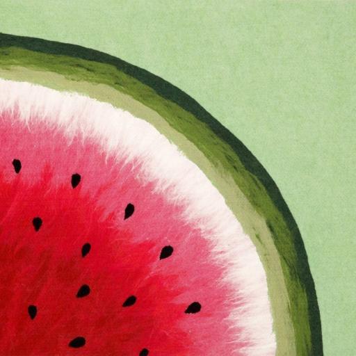 西瓜 手绘 红色 绿色 水果