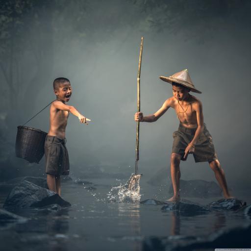 油画 手绘 捕鱼 小孩子