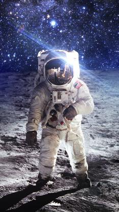 太空 宇航员 星空 月球