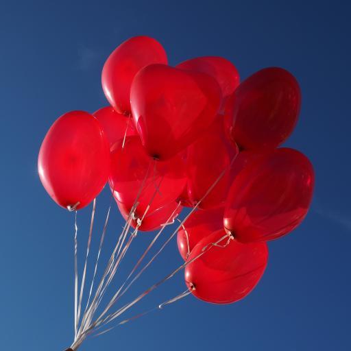 爱心 气球 红色 蓝色 飞