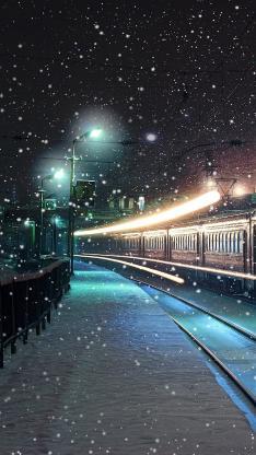 下雪 火车 路灯 夜 冬天