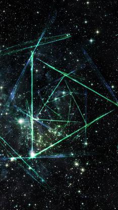 星空 黑色 绿色 线 繁星 宇宙