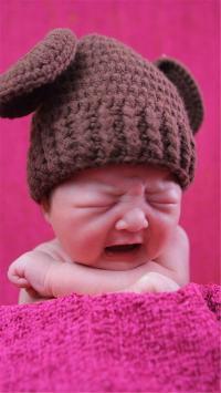 小孩 宝贝 哭泣 帽子 娃娃
