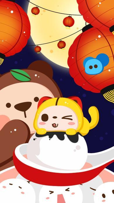 元宵节 汤圆 节日 灯笼 卡通