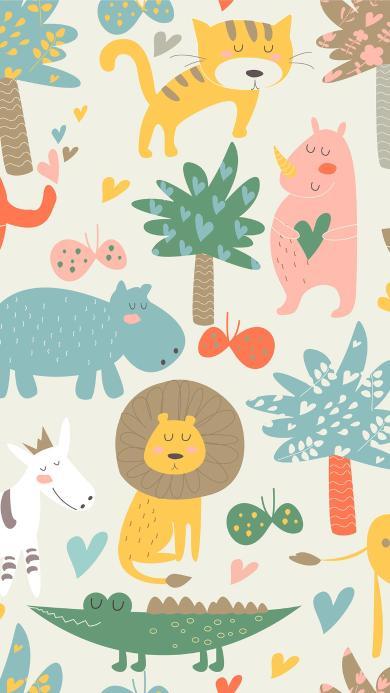 动物插画 平铺 树木 狮子 鳄鱼 河马