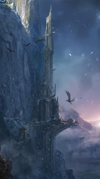 插画 城堡 灰色